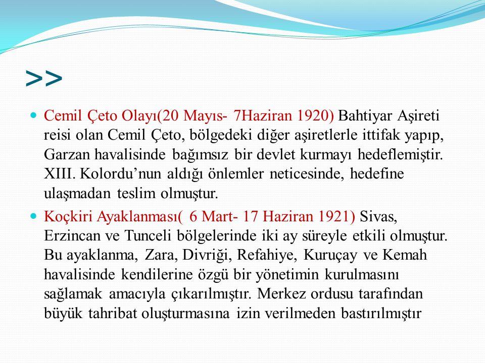 >> Cemil Çeto Olayı(20 Mayıs- 7Haziran 1920) Bahtiyar Aşireti reisi olan Cemil Çeto, bölgedeki diğer aşiretlerle ittifak yapıp, Garzan havalisinde bağ