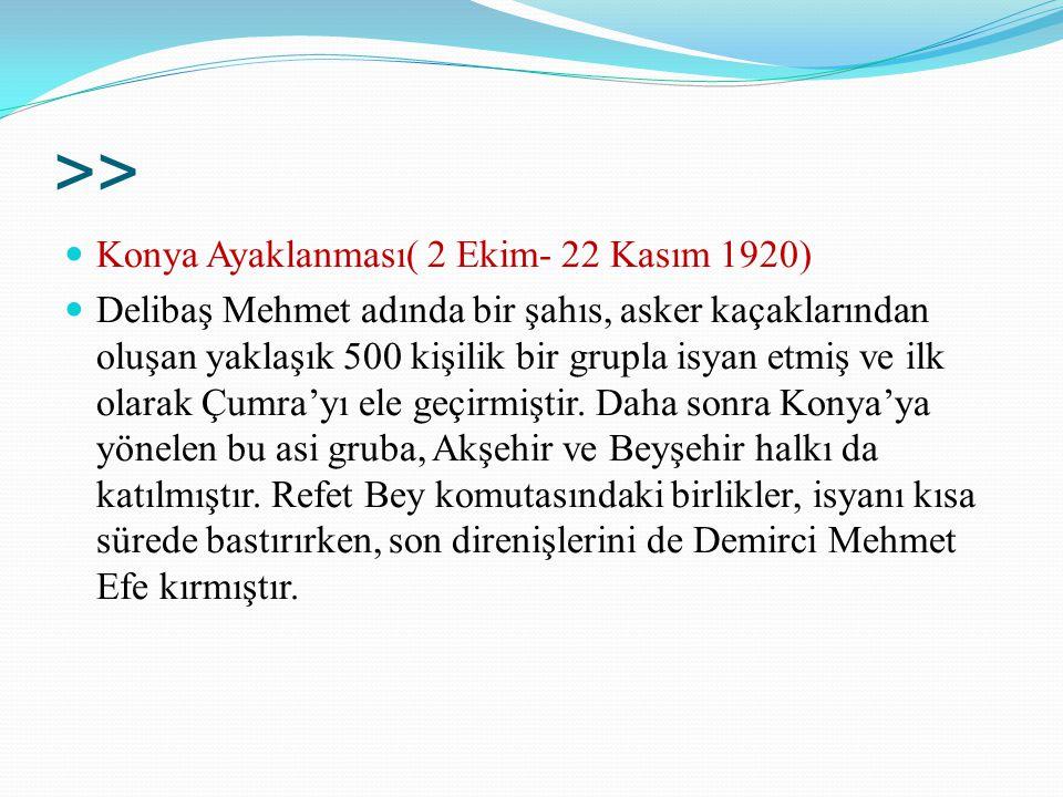 >> Konya Ayaklanması( 2 Ekim- 22 Kasım 1920) Delibaş Mehmet adında bir şahıs, asker kaçaklarından oluşan yaklaşık 500 kişilik bir grupla isyan etmiş v