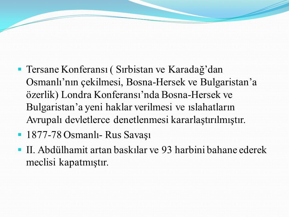  Tersane Konferansı ( Sırbistan ve Karadağ'dan Osmanlı'nın çekilmesi, Bosna-Hersek ve Bulgaristan'a özerlik) Londra Konferansı'nda Bosna-Hersek ve Bu