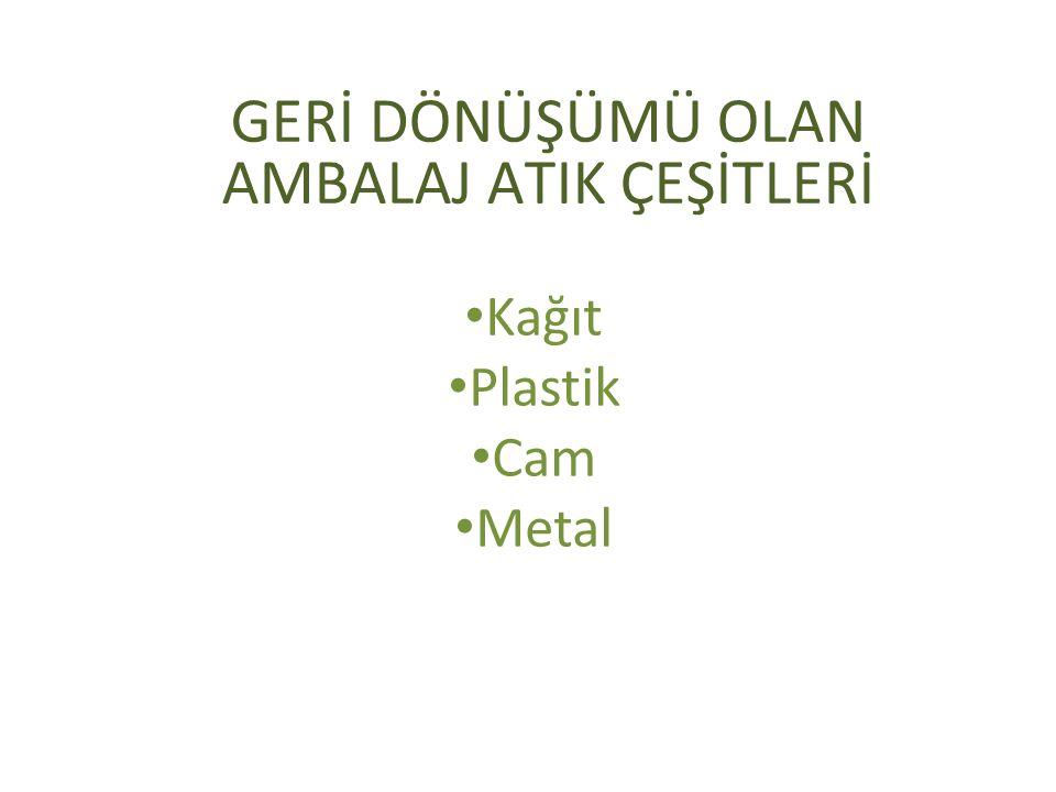 GERİ DÖNÜŞÜMÜ OLAN AMBALAJ ATIK ÇEŞİTLERİ Kağıt Plastik Cam Metal