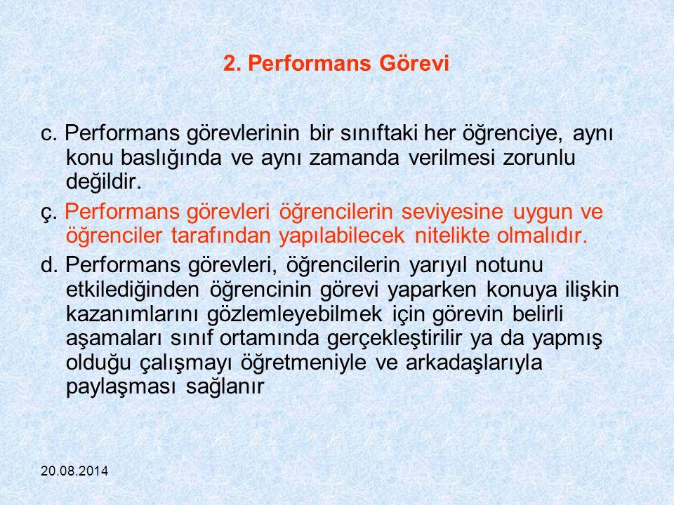 20.08.2014 2. Performans Görevi ilköğretim Kurumları Yönetmeliği'nin 35. maddesine göre