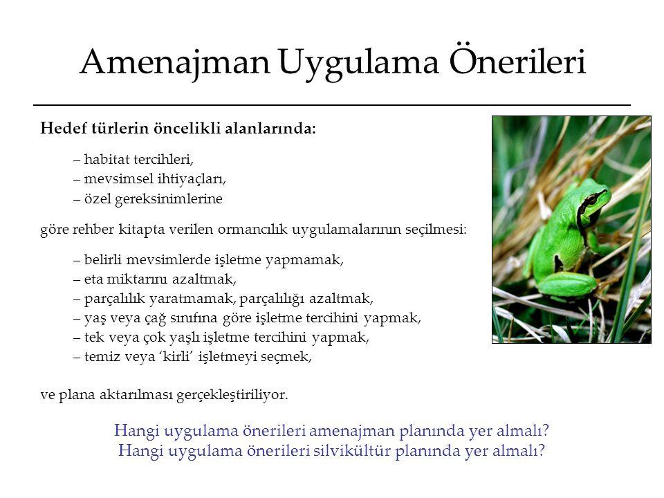 Amenajman Uygulama Önerileri Hedef türlerin öncelikli alanlarında: – habitat tercihleri, – mevsimsel ihtiyaçları, – özel gereksinimlerine göre rehber