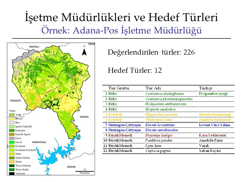 İşetme Müdürlükleri ve Hedef Türleri Örnek: Adana-Pos İşletme Müdürlüğü Hedef Türler: 12 Değerlendirilen türler: 226