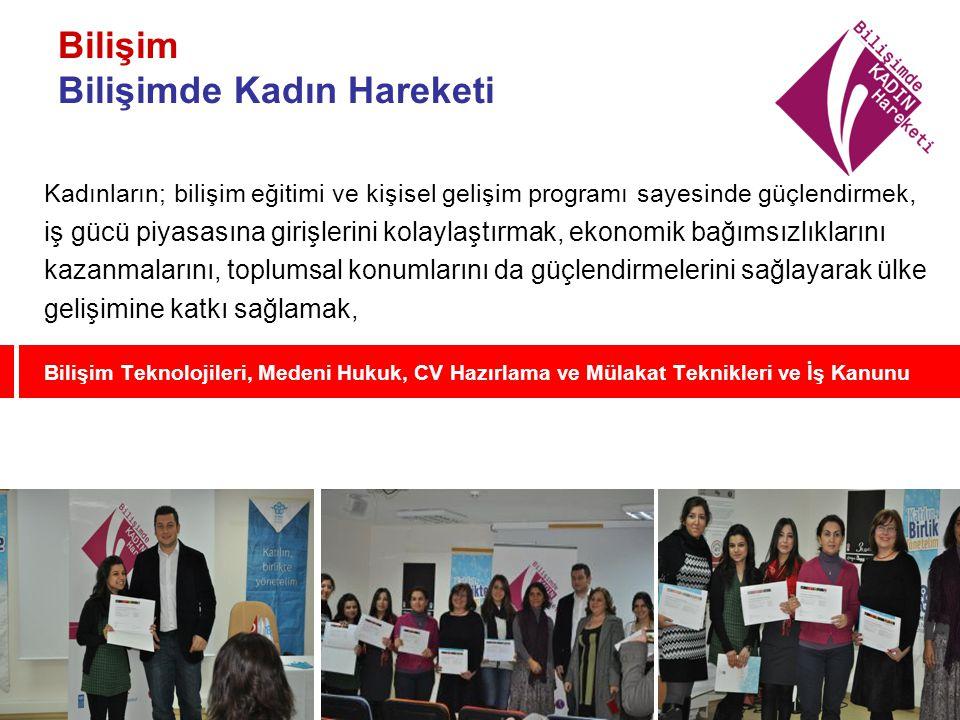 Bilişim Bilişimde Kadın Hareketi Kadınların; bilişim eğitimi ve kişisel gelişim programı sayesinde güçlendirmek, iş gücü piyasasına girişlerini kolayl