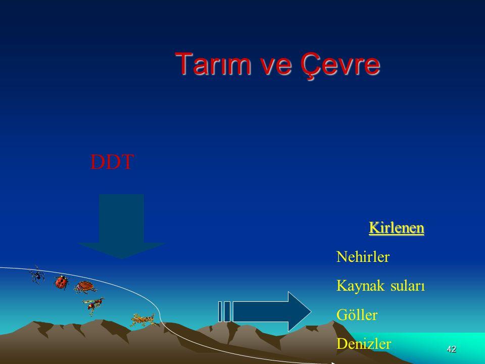 42 Tarım ve Çevre DDT Kirlenen Nehirler Kaynak suları Göller Denizler