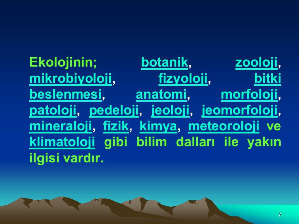 7 Ekolojinin; botanik, zooloji, mikrobiyoloji, fizyoloji, bitki beslenmesi, anatomi, morfoloji, patoloji, pedeloji, jeoloji, jeomorfoloji, mineraloji,