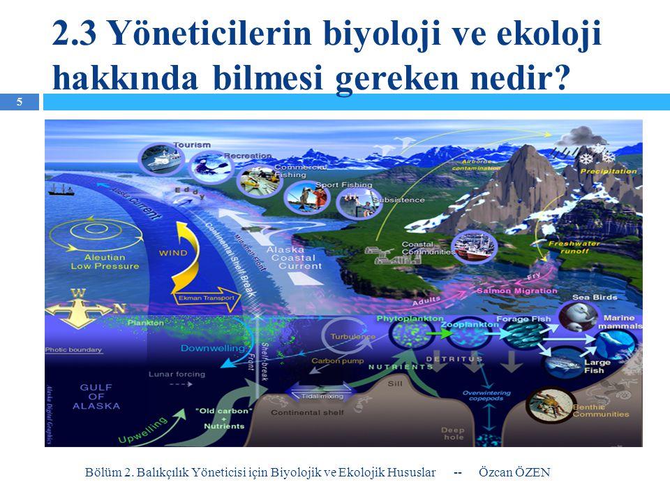2.3 Yöneticilerin biyoloji ve ekoloji hakkında bilmesi gereken nedir? Bölüm 2. Balıkçılık Yöneticisi için Biyolojik ve Ekolojik Hususlar-- Özcan ÖZEN