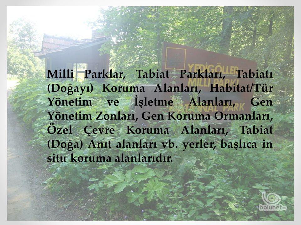 Milli Parklar, Tabiat Parkları, Tabiatı (Doğayı) Koruma Alanları, Habitat/Tür Yönetim ve İşletme Alanları, Gen Yönetim Zonları, Gen Koruma Ormanları, Özel Çevre Koruma Alanları, Tabiat (Doğa) Anıt alanları vb.