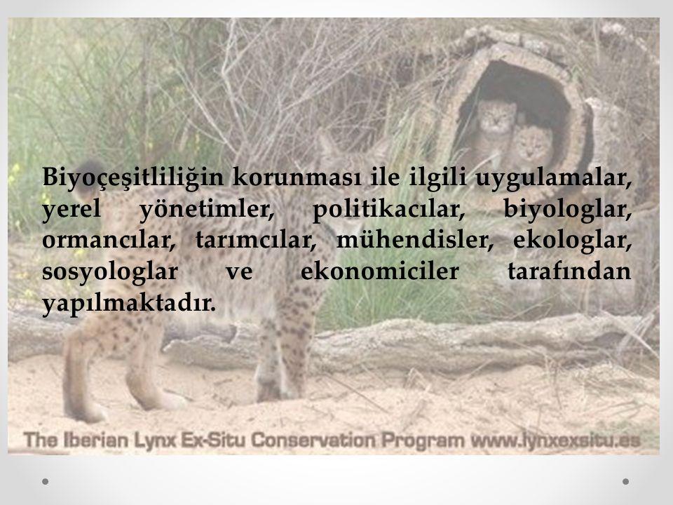 Biyoçeşitliliğin korunması ile ilgili uygulamalar, yerel yönetimler, politikacılar, biyologlar, ormancılar, tarımcılar, mühendisler, ekologlar, sosyologlar ve ekonomiciler tarafından yapılmaktadır.