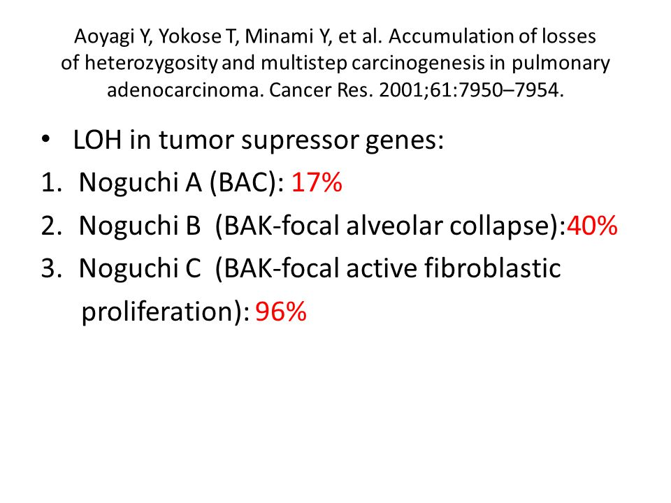 Aoyagi Y, Yokose T, Minami Y, et al. Accumulation of losses of heterozygosity and multistep carcinogenesis in pulmonary adenocarcinoma. Cancer Res. 20