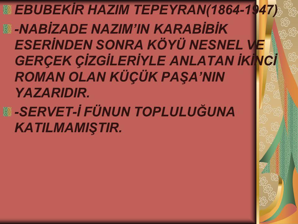 EBUBEKİR HAZIM TEPEYRAN(1864-1947) -NABİZADE NAZIM'IN KARABİBİK ESERİNDEN SONRA KÖYÜ NESNEL VE GERÇEK ÇİZGİLERİYLE ANLATAN İKİNCİ ROMAN OLAN KÜÇÜK PAŞA'NIN YAZARIDIR.