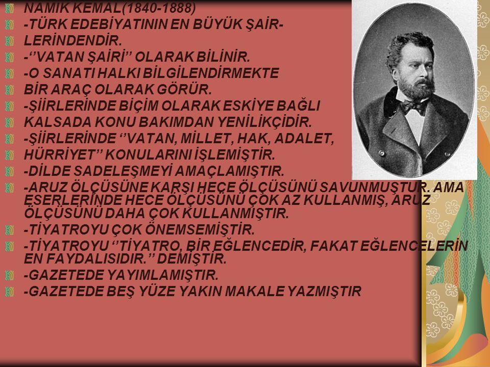 2.DÖNEM TANZİMAT EDEBİYATI SANATÇILARI: RECAİZADE MAHMUT EKREM(1847-191) -BATICI VE YENİLİKÇİ BİR SANATÇIDIR.