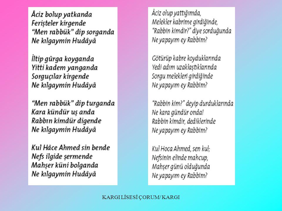 KARGI LİSESİ ÇORUM/ KARGI