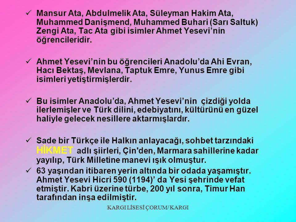 KARGI LİSESİ ÇORUM/ KARGI 6).........