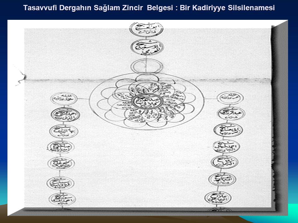 11 Tasavvufi Dergahın Sağlam Zincir Belgesi : Bir Kadiriyye Silsilenamesi