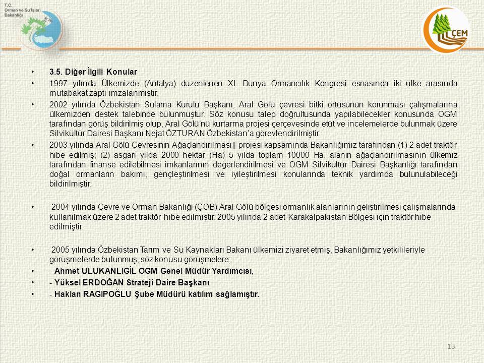 3.5. Diğer İlgili Konular 1997 yılında Ülkemizde (Antalya) düzenlenen XI. Dünya Ormancılık Kongresi esnasında iki ülke arasında mutabakat zaptı imzala