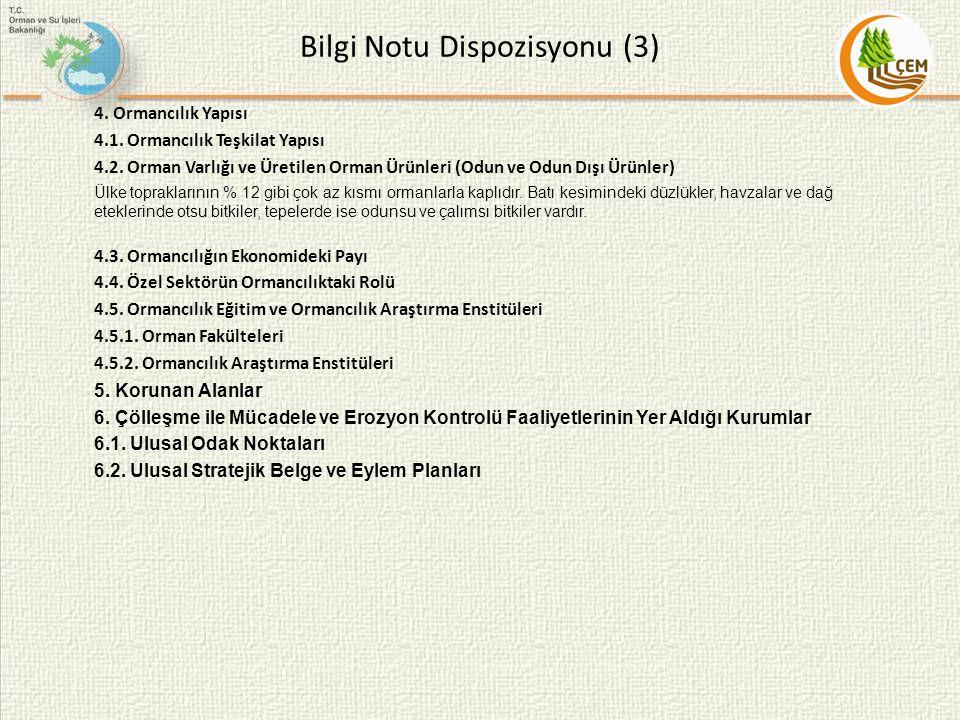 Bilgi Notu Dispozisyonu (3) 4. Ormancılık Yapısı 4.1. Ormancılık Teşkilat Yapısı 4.2. Orman Varlığı ve Üretilen Orman Ürünleri (Odun ve Odun Dışı Ürün