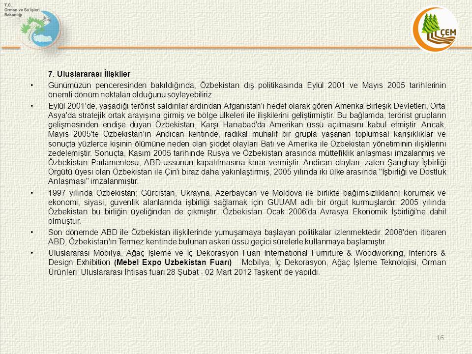 7. Uluslararası İlişkiler Günümüzün penceresinden bakıldığında, Özbekistan dış politikasında Eylül 2001 ve Mayıs 2005 tarihlerinin önemli dönüm noktal