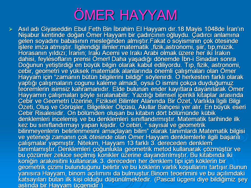 ÖMER HAYYAM  Asıl adı Giyaseddin Ebul Feth Bin İbrahim El Hayyam dır.18 Mayis 1048de İran'ın Nişabur kentinde doğan Ömer Hayyam bir çadırcının oğluyd