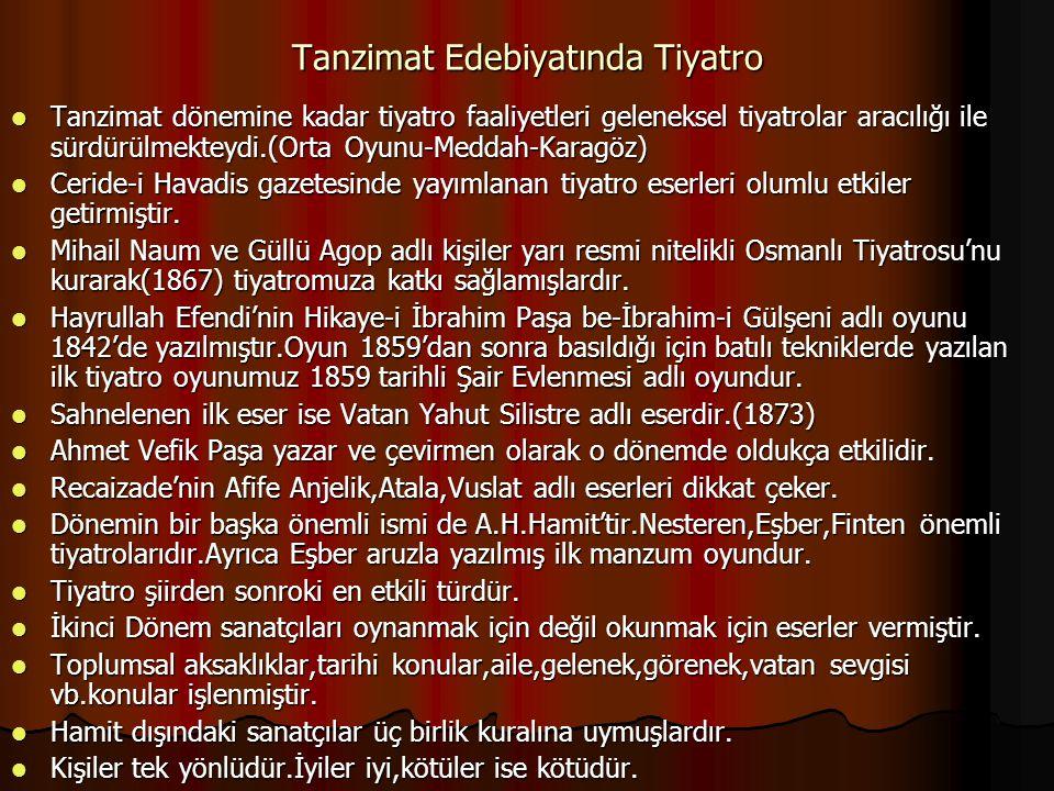 Tanzimat Edebiyatında Tiyatro Tanzimat dönemine kadar tiyatro faaliyetleri geleneksel tiyatrolar aracılığı ile sürdürülmekteydi.(Orta Oyunu-Meddah-Karagöz) Tanzimat dönemine kadar tiyatro faaliyetleri geleneksel tiyatrolar aracılığı ile sürdürülmekteydi.(Orta Oyunu-Meddah-Karagöz) Ceride-i Havadis gazetesinde yayımlanan tiyatro eserleri olumlu etkiler getirmiştir.