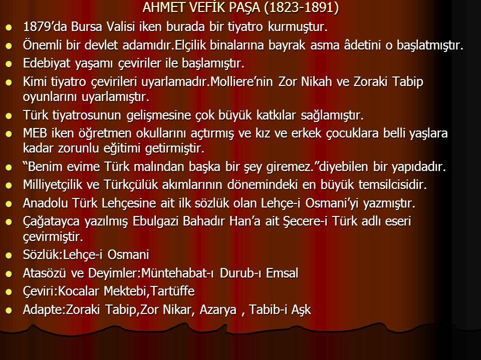 AHMET VEFİK PAŞA (1823-1891) 1879'da Bursa Valisi iken burada bir tiyatro kurmuştur. 1879'da Bursa Valisi iken burada bir tiyatro kurmuştur. Önemli bi