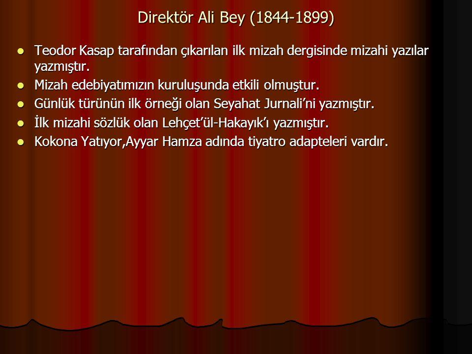 Direktör Ali Bey (1844-1899) Teodor Kasap tarafından çıkarılan ilk mizah dergisinde mizahi yazılar yazmıştır. Teodor Kasap tarafından çıkarılan ilk mi