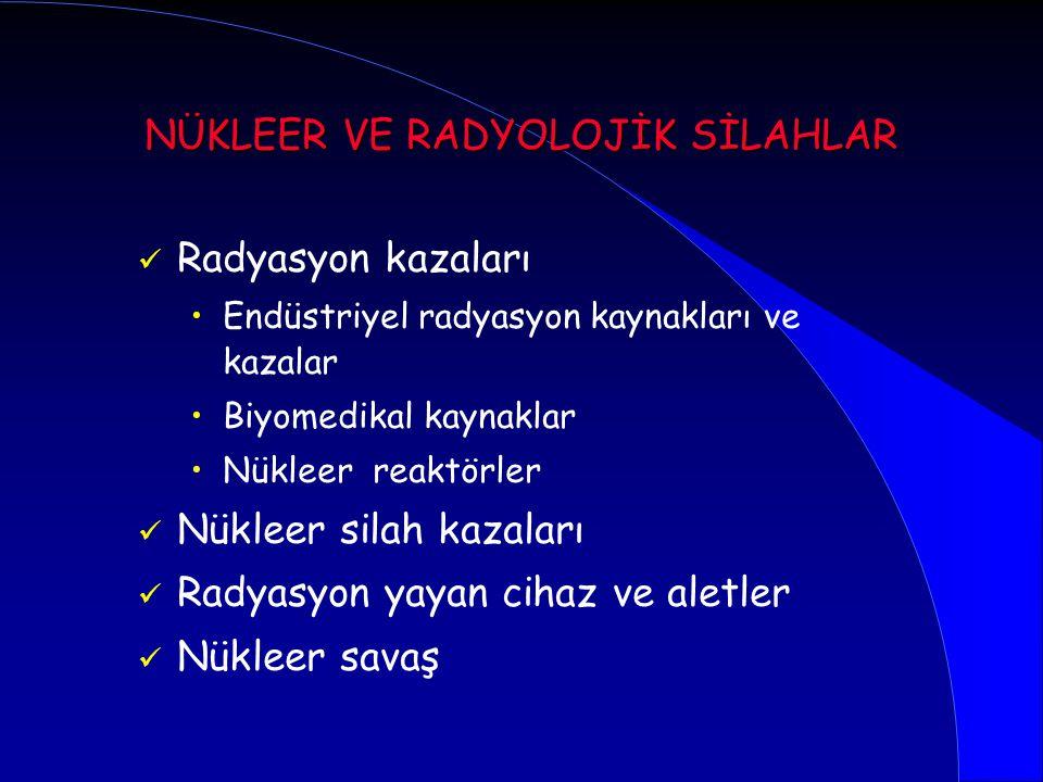 Radyasyon kazaları Endüstriyel radyasyon kaynakları ve kazalar Biyomedikal kaynaklar Nükleer reaktörler Nükleer silah kazaları Radyasyon yayan cihaz v