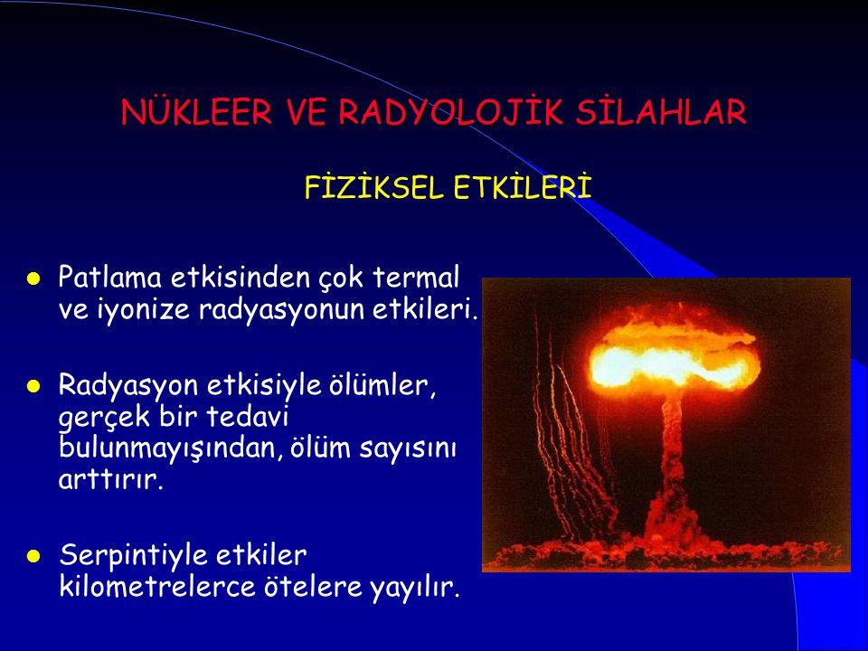 l Patlama etkisinden çok termal ve iyonize radyasyonun etkileri. l Radyasyon etkisiyle ölümler, gerçek bir tedavi bulunmayışından, ölüm sayısını arttı