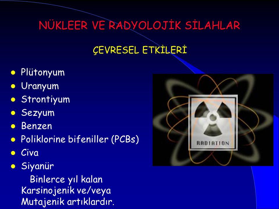 l Plütonyum l Uranyum l Strontiyum l Sezyum l Benzen l Poliklorine bifeniller (PCBs) l Civa l Siyanür Binlerce yıl kalan Karsinojenik ve/veya Mutajeni