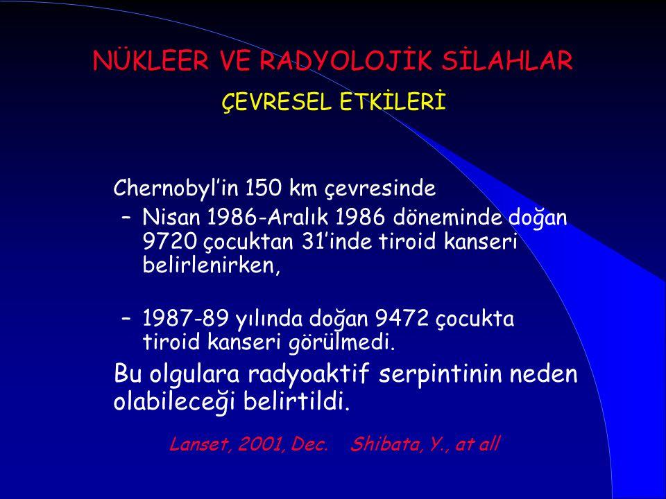 Chernobyl'in 150 km çevresinde –Nisan 1986-Aralık 1986 döneminde doğan 9720 çocuktan 31'inde tiroid kanseri belirlenirken, –1987-89 yılında doğan 9472