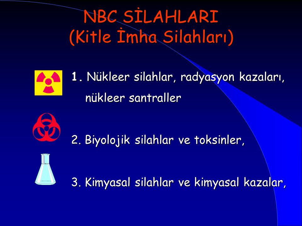 NBC SİLAHLARI (Kitle İmha Silahları) 1. Nükleer silahlar, radyasyon kazaları, nükleer santraller nükleer santraller 2. Biyolojik silahlar ve toksinler