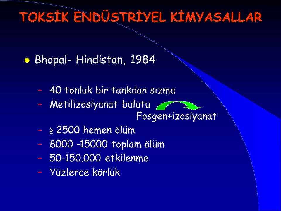 l Bhopal- Hindistan, 1984 – 40 tonluk bir tankdan sızma – Metilizosiyanat bulutu Fosgen+izosiyanat – ≥ 2500 hemen ölüm – 8000 -15000 toplam ölüm – 50-