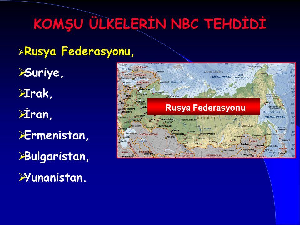   Rusya Federasyonu,   Suriye,   Irak,   İran,   Ermenistan,   Bulgaristan,   Yunanistan. Rusya Federasyonu KOMŞU ÜLKELERİN NBC TEHDİDİ