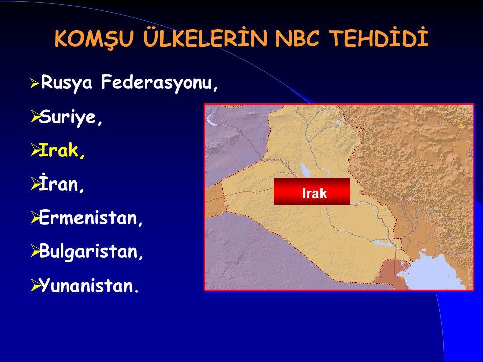   Rusya Federasyonu,   Suriye,   Irak,   İran,   Ermenistan,   Bulgaristan,   Yunanistan. Irak KOMŞU ÜLKELERİN NBC TEHDİDİ