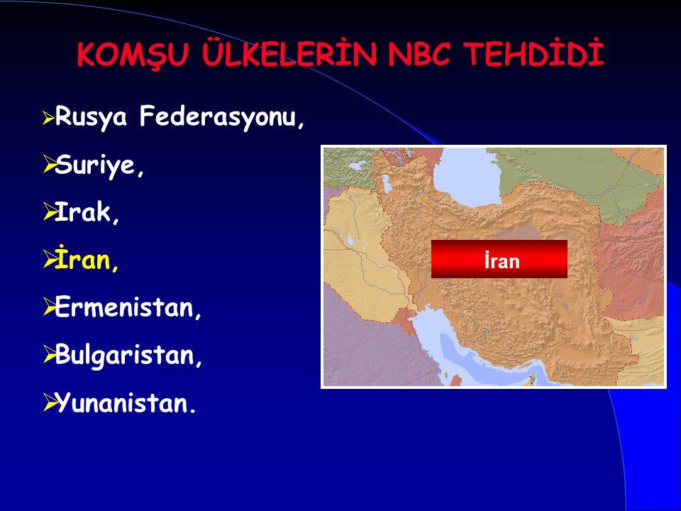   Rusya Federasyonu,   Suriye,   Irak,   İran,   Ermenistan,   Bulgaristan,   Yunanistan. İran KOMŞU ÜLKELERİN NBC TEHDİDİ