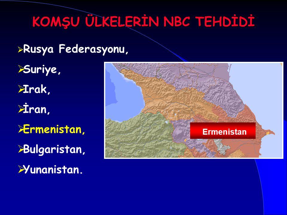   Rusya Federasyonu,   Suriye,   Irak,   İran,   Ermenistan,   Bulgaristan,   Yunanistan. Ermenistan KOMŞU ÜLKELERİN NBC TEHDİDİ