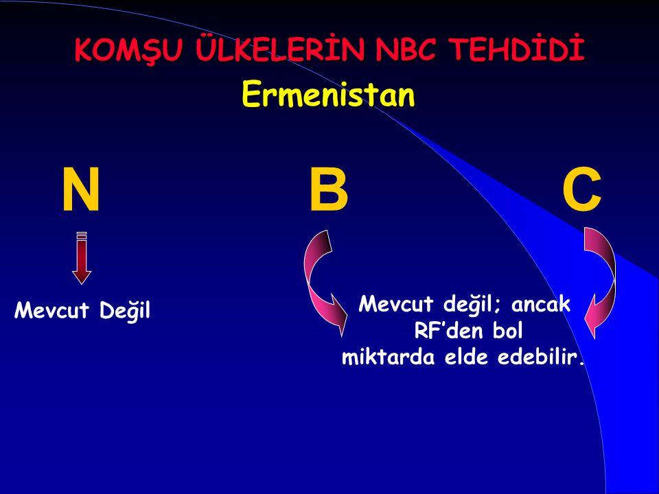 Ermenistan BCN Mevcut Değil Mevcut değil; ancak RF'den bol miktarda elde edebilir. KOMŞU ÜLKELERİN NBC TEHDİDİ