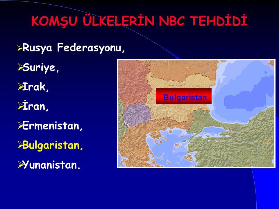   Rusya Federasyonu,   Suriye,   Irak,   İran,   Ermenistan,   Bulgaristan,   Yunanistan. Bulgaristan KOMŞU ÜLKELERİN NBC TEHDİDİ