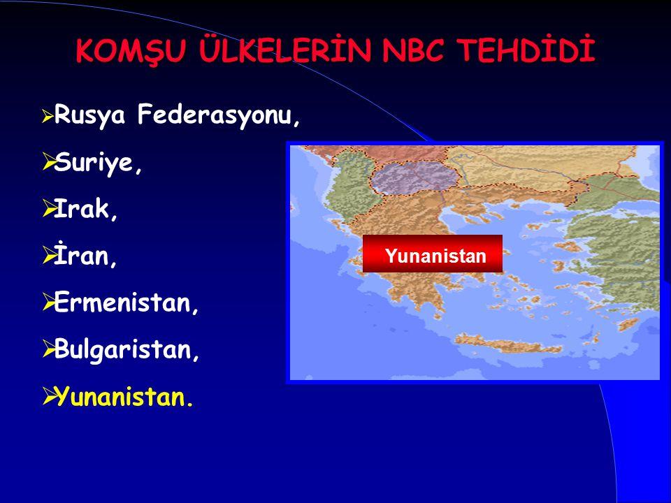   Rusya Federasyonu,   Suriye,   Irak,   İran,   Ermenistan,   Bulgaristan,   Yunanistan. Yunanistan KOMŞU ÜLKELERİN NBC TEHDİDİ