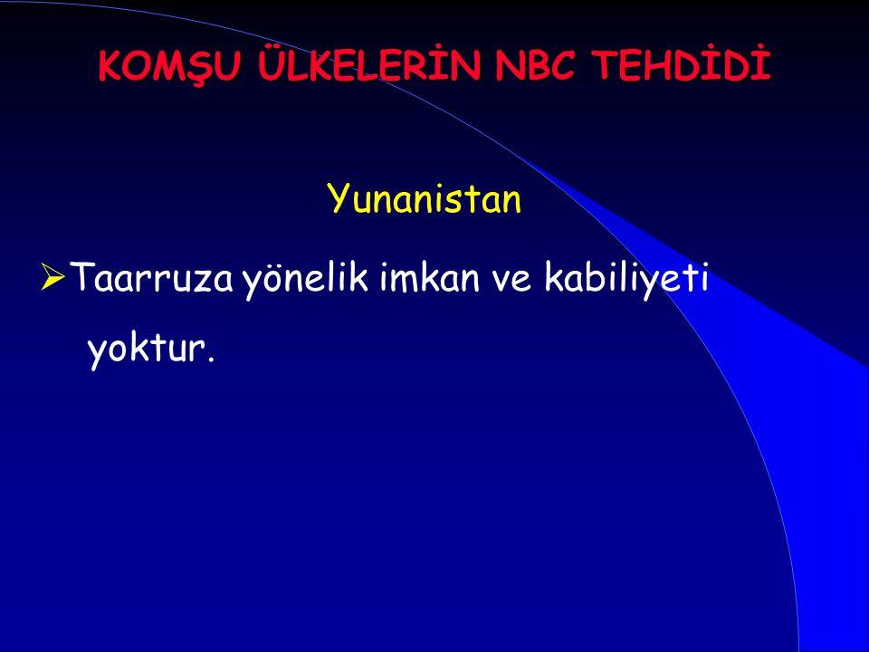 Yunanistan   Taarruza yönelik imkan ve kabiliyeti yoktur. KOMŞU ÜLKELERİN NBC TEHDİDİ
