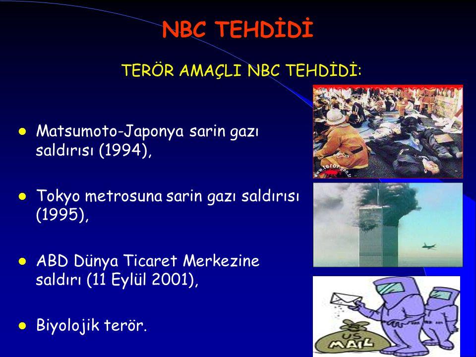 NBC TEHDİDİ TERÖR AMAÇLI NBC TEHDİDİ: l Matsumoto-Japonya sarin gazı saldırısı (1994), l Tokyo metrosuna sarin gazı saldırısı (1995), l ABD Dünya Tica