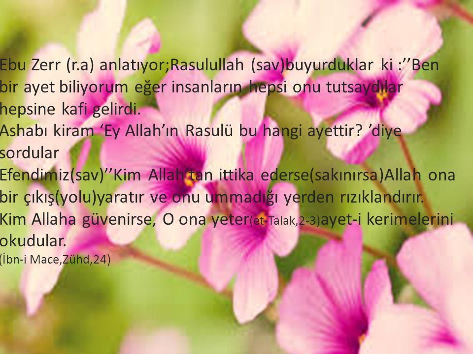 Ebu Zerr (r.a) anlatıyor;Rasulullah (sav)buyurduklar ki :''Ben bir ayet biliyorum eğer insanların hepsi onu tutsaydılar hepsine kafi gelirdi.