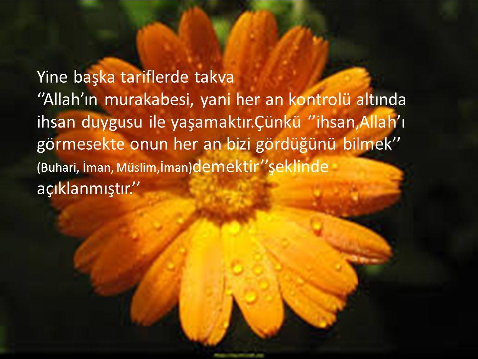 Yine başka tariflerde takva ''Allah'ın murakabesi, yani her an kontrolü altında ihsan duygusu ile yaşamaktır.Çünkü ''ihsan,Allah'ı görmesekte onun her an bizi gördüğünü bilmek'' (Buhari, İman, Müslim,İman) demektir''şeklinde açıklanmıştır.''
