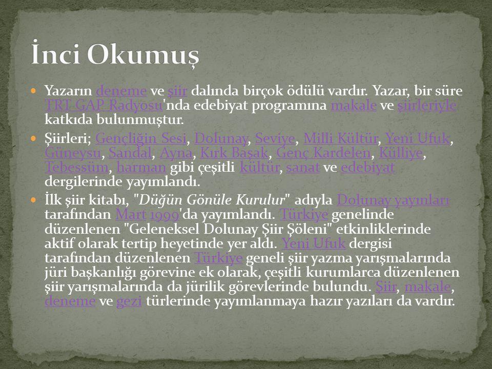 Yazarın deneme ve şiir dalında birçok ödülü vardır. Yazar, bir süre TRT GAP Radyosu'nda edebiyat programına makale ve şiirleriyle katkıda bulunmuştur.