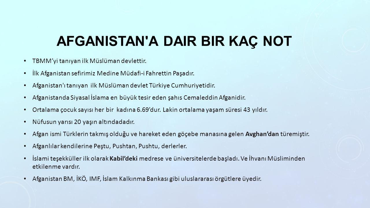 AFGANISTAN A DAIR BIR KAÇ NOT TBMM'yi tanıyan ilk Müslüman devlettir.