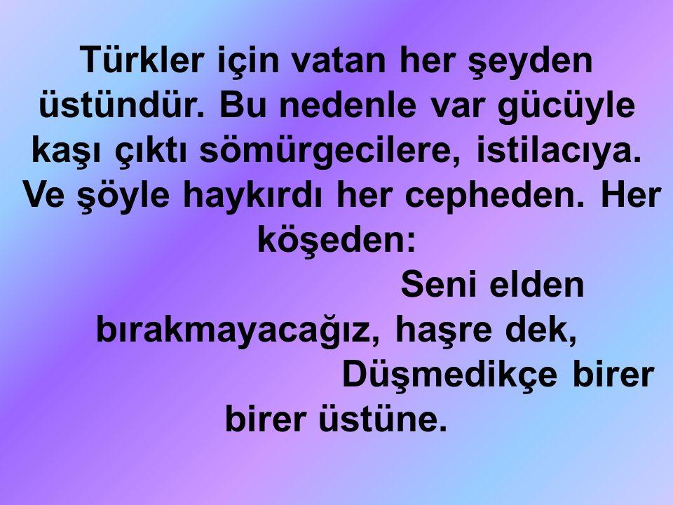 Türkler için vatan her şeyden üstündür. Bu nedenle var gücüyle kaşı çıktı sömürgecilere, istilacıya. Ve şöyle haykırdı her cepheden. Her köşeden: Seni