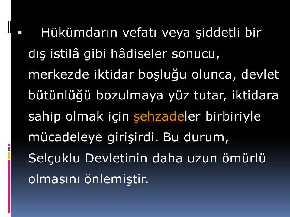  Müslüman Türk devletlerinde, kendilerine bir bölgenin idaresi verilen hanedan üyeleri, melik diye anılırdı. Bunlar yarı müstakil bir şekilde hareket