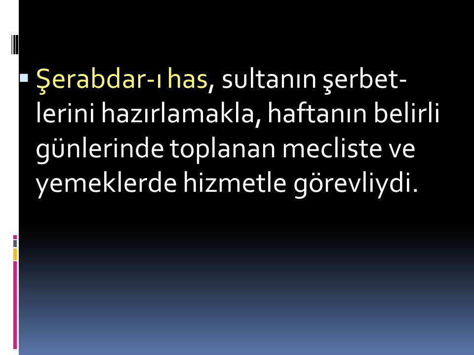  Câmedâr: Sultanın elbiselerinin muhafızıydı. Emîr-i meclis, sultanın ziyafetlerini hazırlatıp, teşrifatçılık yapardı. Emîr-i Çeşnigîr, sultanın yeme