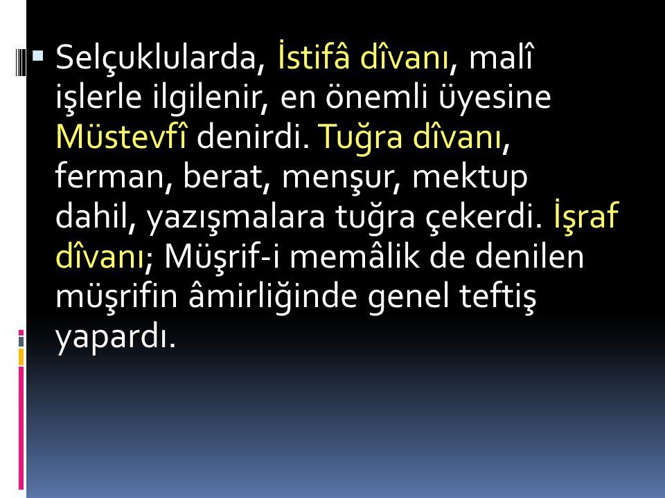  Dîvan-ı arz'a, Arzü'l-ceyş başkanlık ederdi. Emîr-i ariz de denilen bu zatın başkan-lığındaki teşkilat, millî savun-ma hizmetleri ve ordunun ihtiyaç