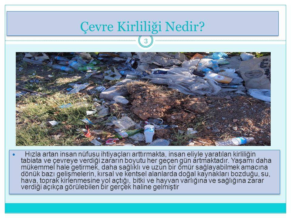 Çeşitleri Çeşitleri 4 Toprak Kirliliği Toprağın kimyasal maddelerle veya atıklarla kirlenmesidir.